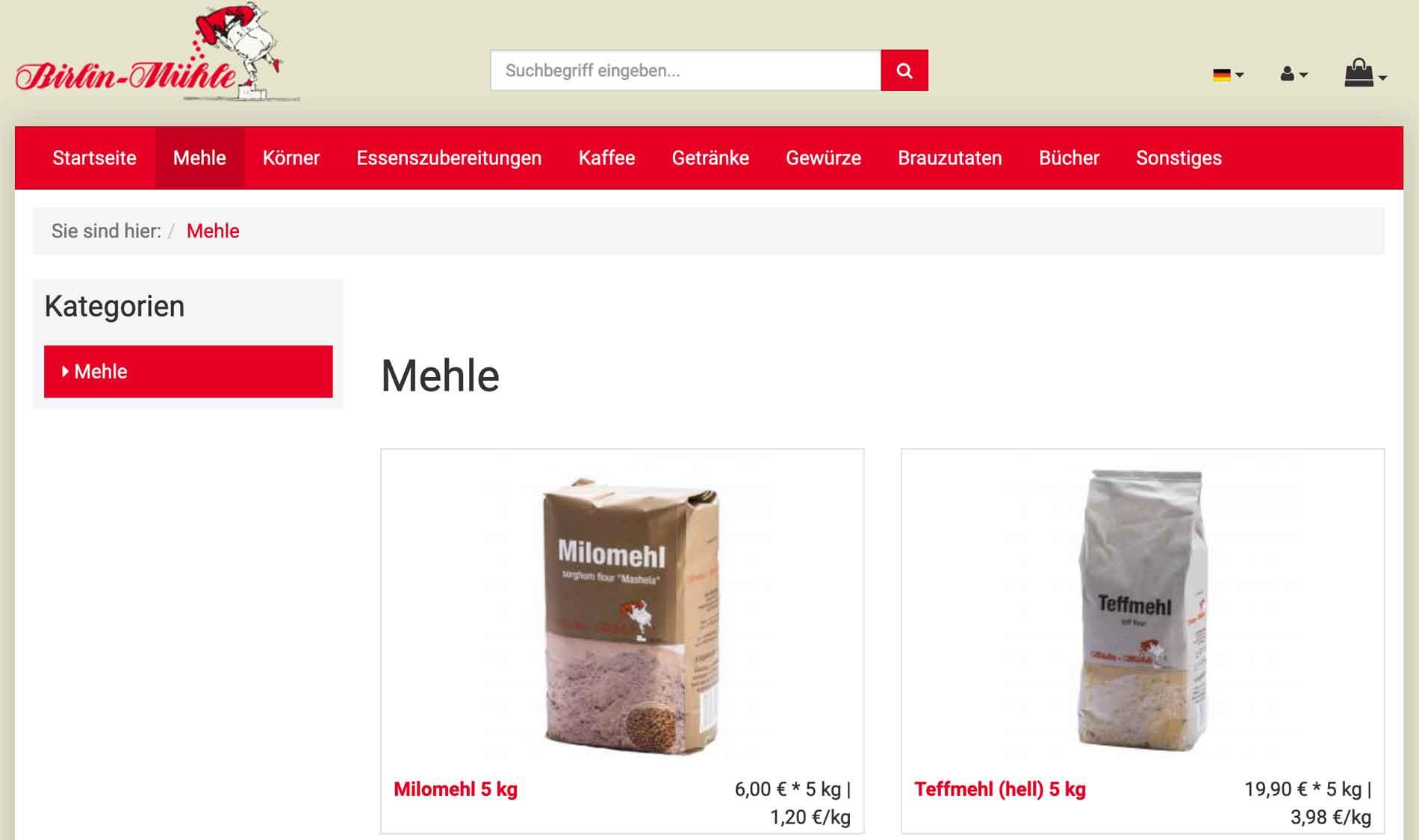 Foto einer Webseite das Mehl verkauft
